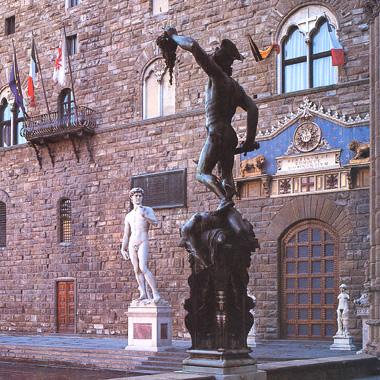 In piazza della Signoria a Firenze