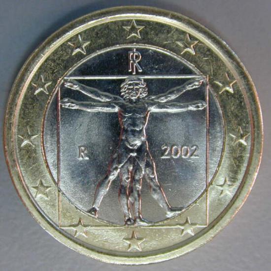 Moneta da 1 euro - Uomo di Vitruvio